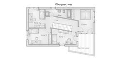 hebelHAUS EFH Kubus 25.87 Grundriss Obergeschoss