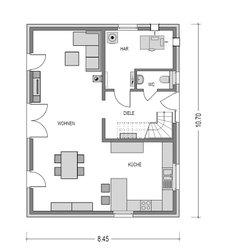 Im Erdgeschoss dieses klassischen Einfamilienhauses finden sich neben dem  Wohnbereich mit Essecke und offener Küche auch der Hausanschlusraum sowie das Gäster-WC.