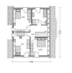 Die Raumaufteilung im Obergeschoss passt perfekt zu den Bedürfmissen der Besitzer: drei große Zimmer und ein geräumiges bad lassen keine Wünsche offen.
