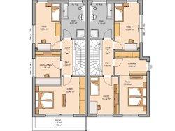 Grundriss OG Doppelhaus Linum Kern-Haus