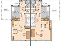 Grundriss EG Doppelhaus Linum Kern-Haus