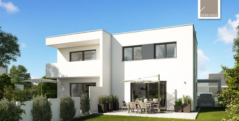 Kern-Haus Doppelhaus Linum Gartenseite