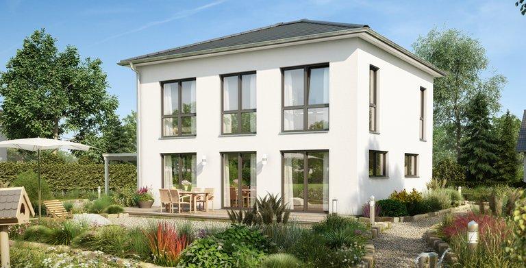 Bodentiefe Fenster für den perfekten Blick in den heimischen Garten: die Stadtvilla Signus von Kern-Haus.