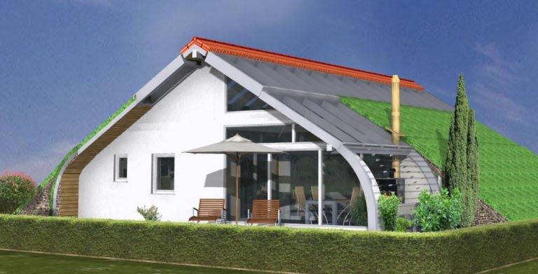 Planungsbeispiel Bungalow Bogenhaus 108SB10 von Bio-Solar-Haus