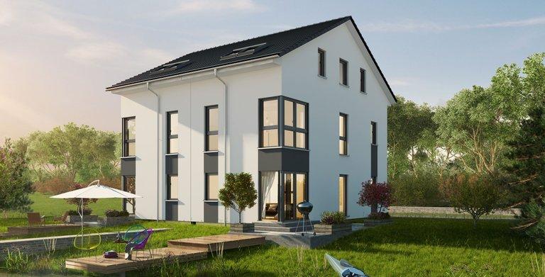 Modernes Doppelhaus mit drei Etagen von OKAL Haus GmbH