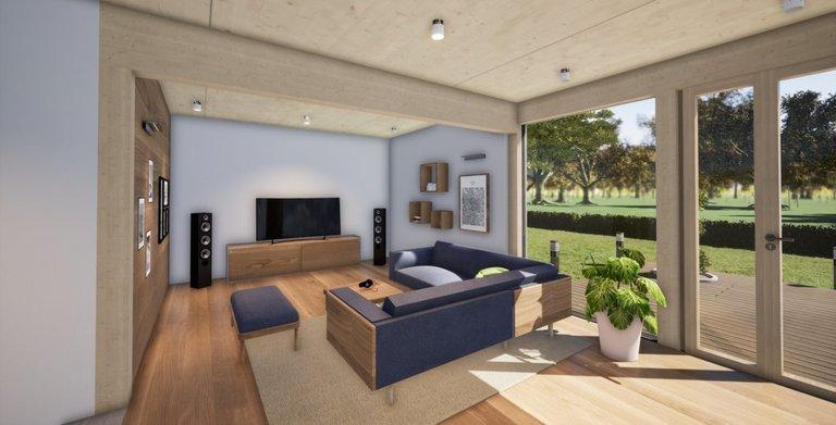 """Wohnzimmer mit Decke """"Natur"""""""